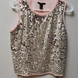 Forever 21 pink top with silver sequins in front.